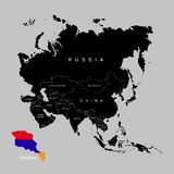 Territory of Armenia on Asia continent. Flag of Armenia. Vector illustration stock illustration
