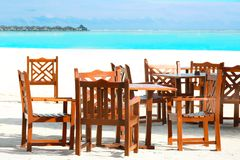 Territory of beach cafe at tropical. Resort Stock Photo