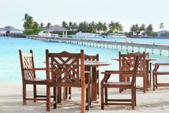 Territory of beach cafe at tropical. Resort Royalty Free Stock Photography