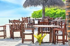 Territory of beach cafe at tropical. Resort Stock Image