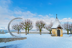 Territory of the castle of Gruyeres in Switzerland Royalty Free Stock Photo
