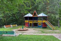 Territory of children`s sanatorium Belokurikha in the Altai Krai. Belokurikha, Russia - July 29, 2015: Territory of children`s sanatorium Belokurikha in the Stock Image