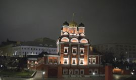 The territory of the church from the old part of Moscow. Moscow at night Stock Photos