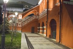 The territory of the church from the old part of Moscow. Moscow at night Royalty Free Stock Photography