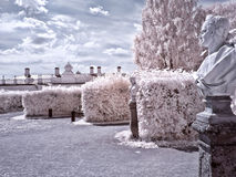 Territory of farmstead Kuskovo. Infrared photo royalty free stock photography