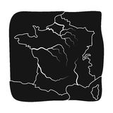 Territory of France icon in black style isolated on white background. France country symbol stock vector illustration. Royalty Free Stock Images