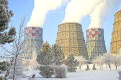 Territory of heat and power station. Accumulator tanks. Close-up. Winter. Russia stock image