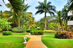 Territory of Hotel Catalonia Royal Bavaro in Dominican Republic. Stock Photos