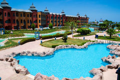 Territory of  hotel Dreams beach resort with big pool, Egypt Stock Photography