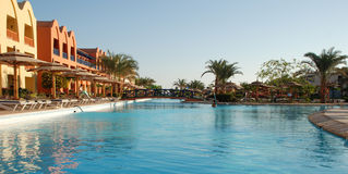 Territory of hotel at pool. Egypt. Hurgada. Stock Photo