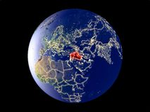 Territory of Islamic State on Earth from space. Islamic State from space on model of planet Earth with city lights. Very fine detail of the plastic planet vector illustration