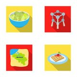 Territory on the map, brussels sprouts and other symbols of the country.Belgium set collection icons in flat style Royalty Free Stock Photo