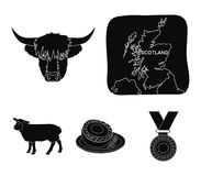 Territory on the map, bull`s head, cow, eggs. Scotland country set collection icons in black style vector symbol stock. Illustration stock illustration