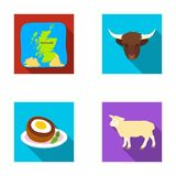 Territory on the map, bull`s head, cow, eggs. Scotland country set collection icons in flat style vector symbol stock. Illustration stock illustration