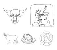 Territory on the map, bull`s head, cow, eggs. Scotland country set collection icons in outline style vector symbol stock. Illustration vector illustration