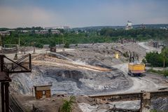 The territory of the metallurgical plant `Tulachermet`. Where the is poured after processing. Tula, Russia royalty free stock images