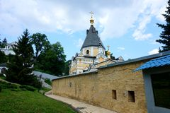 The territory of one of the most famous Orthodox monasteries: the Holy Dormition Kiev-Pechersk Lavra. royalty free stock photography