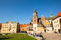 On territory of Royal palace in Wawel Stock Photos