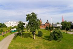 Territory of the Sergius Church. Moscow Stock Photo