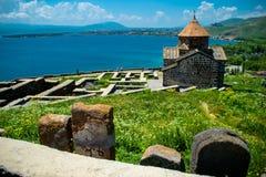 Territory Sevanavank monastery on Sevan lake Royalty Free Stock Photography