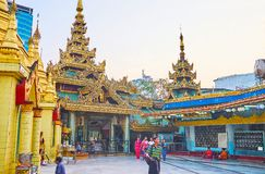 On territory of Sule Pagoda, Yangon, Myanmar Royalty Free Stock Photos
