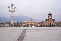 The territory of the Tsminda Sameba. Tbilisi Royalty Free Stock Photo