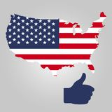 Territory of USA and Thumb sign. Gray background.Vector illustration. vector illustration
