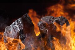 Terrones del carbón con las llamas del fuego Imágenes de archivo libres de regalías