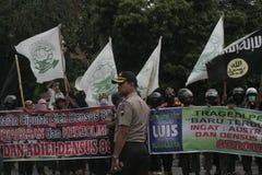 Terror anti de la separación 88 de la policía de la protesta del rechazo en Chester Indonesia Foto de archivo libre de regalías