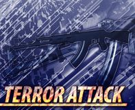 Terror attack Abstract concept digital illustration. Abstract background digital collage concept illustration terror attack terrorism Royalty Free Stock Photos