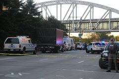 Terror attack crime scene in lower Manhattan in New York Royalty Free Stock Image