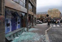 Terror attack in Oslo. Broken windows in central Oslo, Norway minutes after terrorist bomb attack Royalty Free Stock Photos