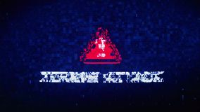 Terror Attack Text Digital Noise Twitch Glitch Distortion Effect Error Animation. Terror Attack Text Digital Noise Glitch Effect Tv Screen Background. Login and vector illustration