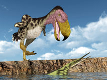Terror Bird Kelenken attacks the Marine Reptile Hupehsuchus Stock Images
