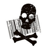 Terror code. Creative illustration of bar code and skull Stock Photo