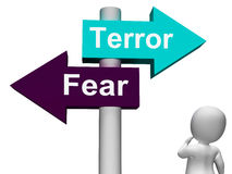 Terror Fear Signpost Shows Anxious Panic Stock Photography