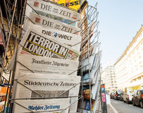Terror in London headline title at press kiosk after London Attacks. PARIS, FRANCE - MAR 23, 2017: Terror in London headline on Bild Germany and other royalty free stock photography