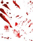Terror Prints. Bloody handprints and splatters on white surface Royalty Free Illustration