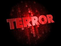 Terror on Red Digital Background. Terror - Red Color Text on Digital Background royalty free stock image