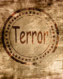 Terror stamp on a grunge background Stock Images