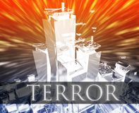 Terror terrorism. Terrorist terror attack Al Queda terrorism bombing concept illustration Stock Photo