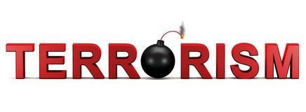 Terrorism. 3d text TERRORISM with activated bomb instead letter O Stock Photography