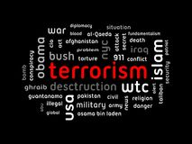 Terrorism. Word collage on black background Stock Photos