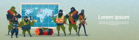Terrorism Armed Terrorist Black Mask Hold Weapon Machine Gun Planning World Attack Stock Image