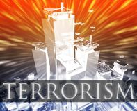 Terrorism attack. Terrorist terror attack Al Queda terrorism bombing concept illustration Stock Photos