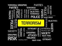 TERRORISM - CALM - image with words associated with the topic EXTREMISM, word, image, illustration Stock Photos