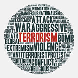 Terrorism. Cloud of words in a circle. Vector illustration. Royalty Free Stock Photography