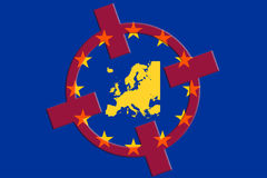 Terrorism Concept. Europe EU Terror Target. EU Flag Red Crosshair Map stock photos