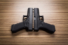 Terrorism concept. Handguns.Close up Stock Image