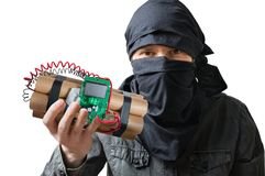 Terrorism concept. Terrorist holds dynamite bomb in hand. Isolated on white Stock Photo